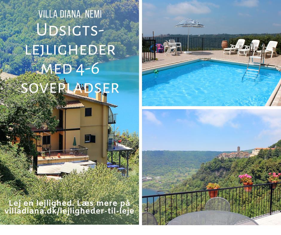 Billedannonce med opfordring til at leje en lejlighed i Villa Diana i Nemi.
