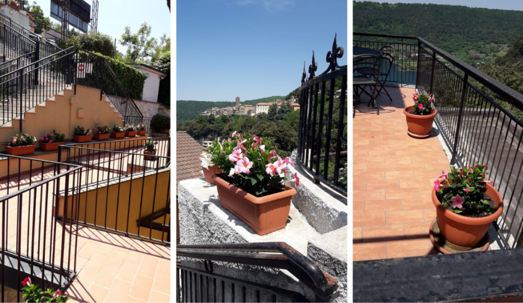 Villa Diana fremstår pænt og indbydende. Gangarealer er fejede, og blomsterne står nydeligt i krukker.